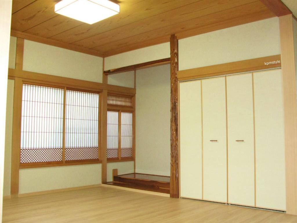 和室の続き間は、和のテイストを引き継いだモダンな空間へ (八戸市根城)